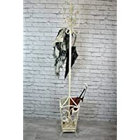 Metal Shabby Chic Cream / antique white Coat rack stand holder freestanding with umberella / walking stick holder with leaf design