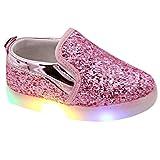 Highdas Kinder LED Licht Schuhe weiche Sohle Prewalker Prinzessin Loafer Rosa EU 30