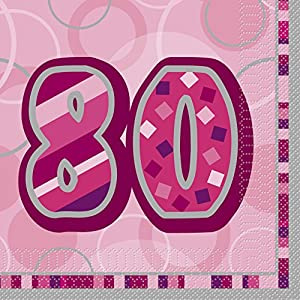 Unique Party Paquete de 16 servilletas de papel de 80 cumpleaños Color rosa Edad (28447