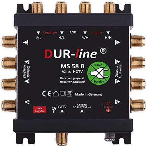 DUR-line MS 5/8 B eco Stromloser Multischalter - Multischalter für 8 Teilnehmer - Geringe Stromaufnahme - 0 Watt Standby Multiswitch [Digital, HDTV, FullHD, 4K, UHD]