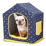 Wood.L Haustierbett für Katzen und Hunde, abnehmbares waschbares Leinen, für den Innenbereich, Schlafzelt, Kissen