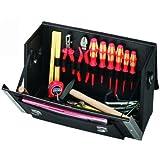 PROMAT 871657 Werkzeugtasche Rindleder Doppelwand HDPE 420x160x250mm PROMAT Alu.verstärkt