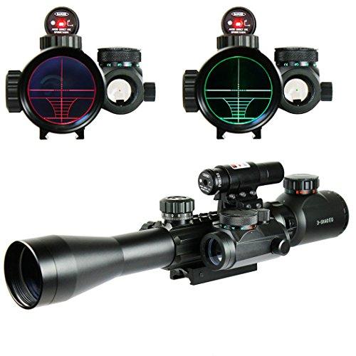 IRON JIA'S Lunettes de visée Airsoft 3-9X40EG Illuminated Chasse Rouge/Vert Riflescope Laser holographique avec Dot Sight Combo viseur d'arme