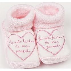 """Chaussons bébé brodés """"Je suis le rêve de mes parents"""" Fdmp rose/blanc 0/3mois"""