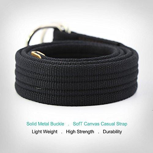 3ZHIYI Leinwandgürtel Unisex Mode Weicher Bequemer Riemen Doppelschleife Metallschnalle 1-Schwarz