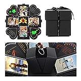 Huker Explosion Box Scrapbook Creative DIY Photo Album de Accesorios para cumpleaños Aniversario Boda San Valentín Día de la Madre(Negro)