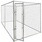 Festnight Chenil Robuste en Acier avec 1 Porte Enclos pour Chiens 200 x 400 x 195 cm