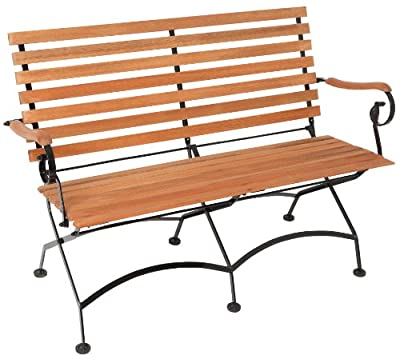 FSC Eukalyptus Holz Schlossgarten Gartenbank 2-Sitzer pulverbeschichteter Stahl mit FSC Eukalyptus Holz und Füßen mit Bodenschonern