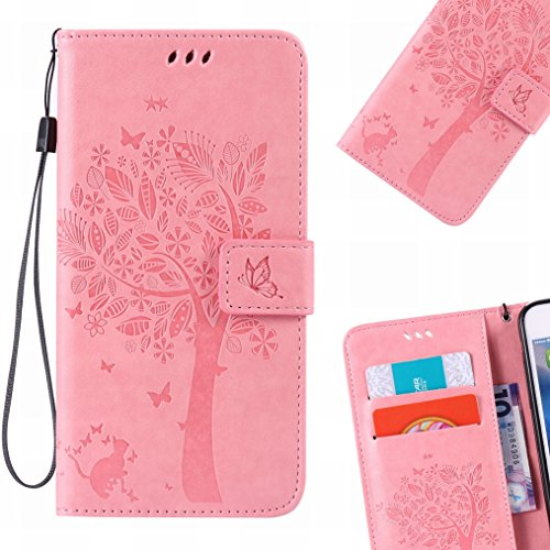 LEMORRY iPhone 6 6s (4.7) Etui Gaufré Cuir Flip Portefeuille Pochette Mince Bumper Protecteur Magnétique Fermeture Standing Card Slot Soft Silicone TPU Housse Case Cover Coque pour Apple IPhone 6 6s ( Pink magic