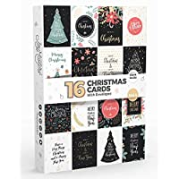 16 x Merry Christmas Cards by Joy MastersTM Vol.4 | Boxed Pack Blank Xmas Greeting Cards for Kids and Adults