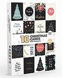 Joy MastersTM Biglietti di Buon Natale Assortiti - Set di 16 Biglietti d'Auguri con Busta - Interno Bianco - per Bambini e Adulti