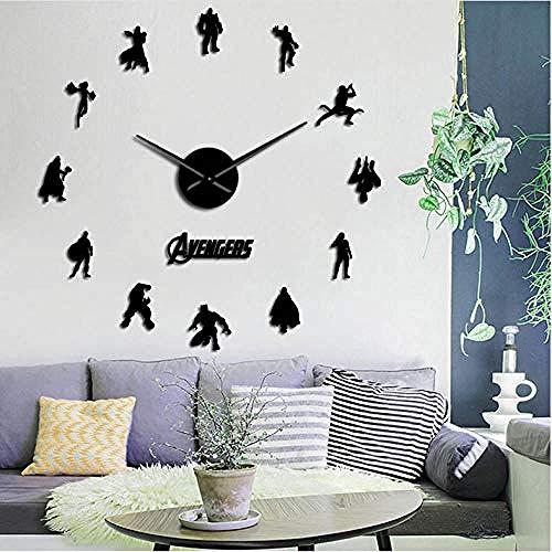 BBNNN Infinity War Verschiedene Charaktere Inspiriert Wandkunst Rahmenlose Wanduhr DIY Wandaufkleber Kinderzimmer Great Wall Clock 47 Zoll -