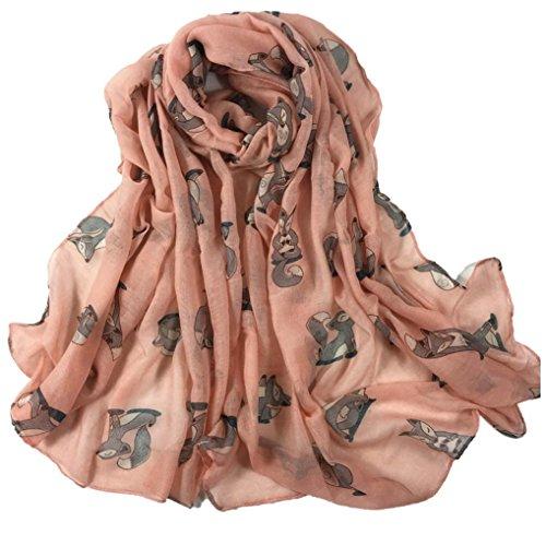 OverDose Frauen Fuchs Drucken Lange Weiche Paris Garn Schal Wrap Schal Stola Pashmina Schals,A-Pink (Drucken Lange Schal)