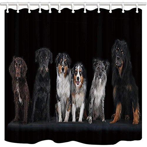 CDHBH Pet Decor Vorhang für die Dusche Wasserspeier Hund Badezimmer Wasserdicht Duschvorhang Set mit Haken 180,3x 180,3cm