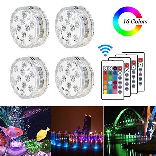 Unterwasser Licht mit Fernbedienung, Se-Mirrorworld 4 Stück RGB Multi Farbwechsel Pool Beleuchtung LED Lichter für Vase Base Party,Weihnachten,Schwimmbad, Halloween, Weihnachten, Hochzeit
