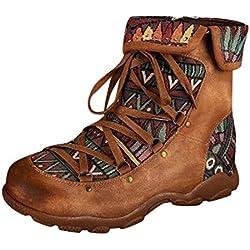 Timogee Botas de Mujer Boho Vintage Estampado étnico Tobillo Cremallera Botas Cortas Zapatos Casuales(Marrón,38)