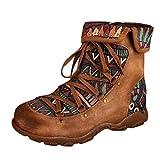 Botas De Cuero Mujer Tobillo Vintage Otoño Invierno Botas Cortas para Las Mujeres Planas, Zapatos Romano con Cordones Botines Mujer Otoño Vintage (EU:36, marrón)