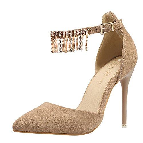 MissSaSa Femmes Escarpins Talons Hauts Aiguille Chaussures Elégant abricot
