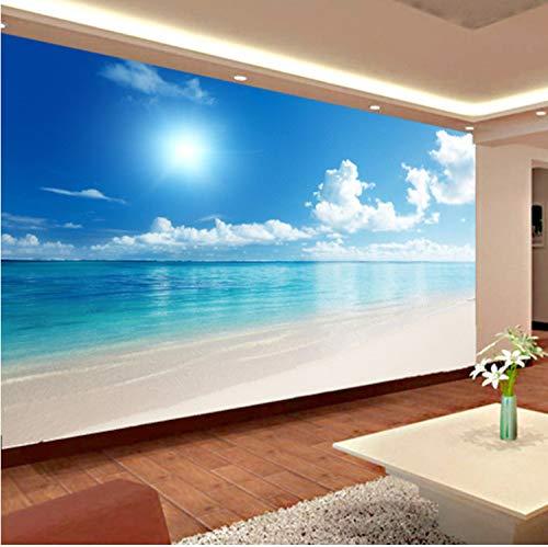 Yirenfeng Papel Pintado Wandbild Personalizado 3D Vista Al Mar Y Cielo Azul Nubes Playa Salón Dormitorio Geschreddert Papel Pintado Papel De Parede 3D400X250CM