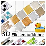 Grandora 5er Set 25,3 x 5 cm gold kupfer silber Fliesenaufkleber Design 8 Mosaik 3D-Effekt Aufkleber Küche Bad Fliesendekor selbstklebend W5288