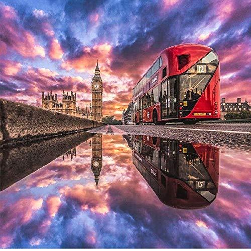 Puzzle De Bus De Londres 1000 Pièce pour Les Adultes en Bois Portable Puzzle Enroulable Jeu Jouets IQ Défi Cadeau
