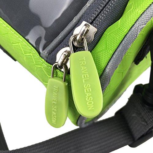 Tourbon Wasserfeste Front-Fahrradtasche zur Befestigung am Lenker, mit Platz für Karte und abnehmbarem Schultergurt Grün