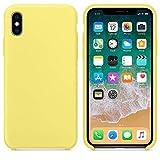 El último Verano Funda iPhone X, Slim Líquido de Silicona Gel Carcasa Anti-Rasguño y Resistente Huellas Dactilares Totalmente Protectora Caso Cover Case para iPhone X (5.8') (Amarillo limón)