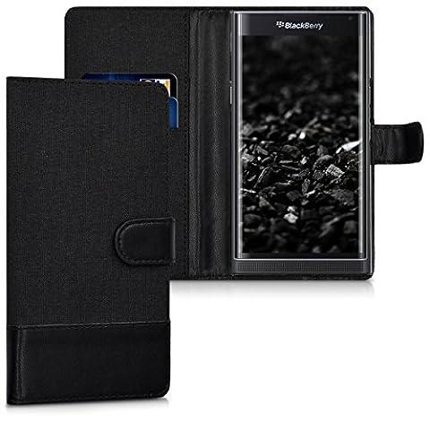 kwmobile Étui portefeuille en cuir synthétique pour Blackberry Priv - étui avec compartiment pour carte de visite et carte de crédit avec fonction support pratique en anthracite noir