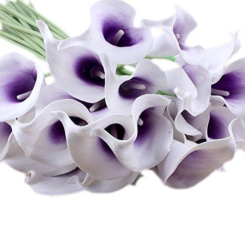 Cozyswan 20 pz Qualità artificiale alta Fiore Vero Cala Lily di tocco per la decorazione del partito, compleanno, matrimonio, feste, bianche - Porpora