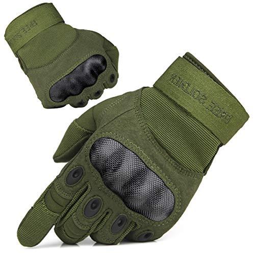 FREE SOLDIER Guantes Moto Verano Hombre Guantes Tacticos Militares Combate para Deportes al Aire Libre, Escalada, Ciclismo, Bicicleta Montaña, MTB, Airsoft, Paintball (M, Dedo Completo/Verde)