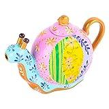 Artvigor Porzellan Teekanne 1200 ml, Handbemalt Kaffeekanne, Schnecke Design Dekofiguren