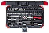 carolus 4400.2046 Steckschlüsselsatz 1/4' mit Umschaltknarre / Ratschenkasten 46-teilig /...