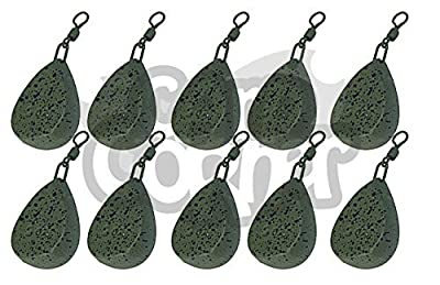 10 x Carp Fishing Tackle Weights 1.5oz 2oz 2.5oz 3oz 3.5oz Flat Pear Style Weight All Sizes (10 x 3oz Flat Pear) by NGT