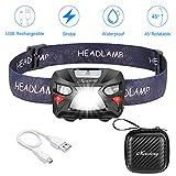 Mirviory Mirviory USB Wiederaufladbare LED Stirnlampe Kopflampe,8 Leuchtmodi Wasserdicht Leichtgewichts Mini stirnlampen Perfekt fürs Laufen,Joggen, Angeln,Campen,für Kinder und mehr,Aufbewahrungskoffer