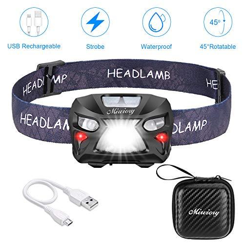 Mirviory USB Wiederaufladbare LED Stirnlampe Kopflampe,8 Leuchtmodi Wasserdicht Leichtgewichts Mini stirnlampen Perfekt fürs Laufen,Joggen, Angeln,Campen,für Kinder und mehr,Aufbewahrungskoffer