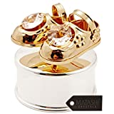 Placcato in oro 24 K e argento Jewelry Box con cristalli a figurine sul coperchio by Matashi, Baby Shoes
