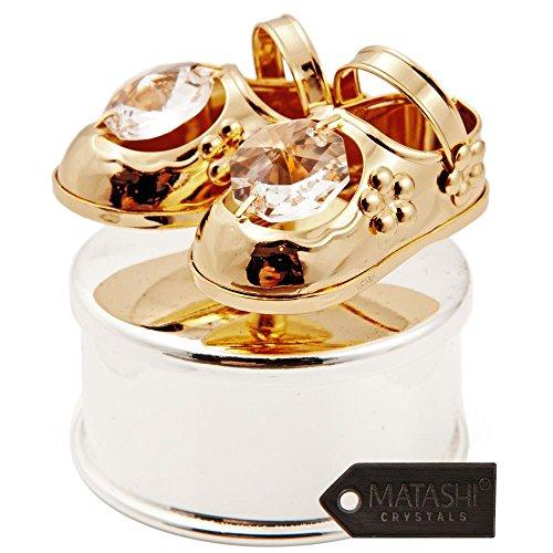 Matashi 24K Gold & Silber vergoldet Schmuck Box mit Kristall besetzt Figur auf dem Deckel, Baby Shoes