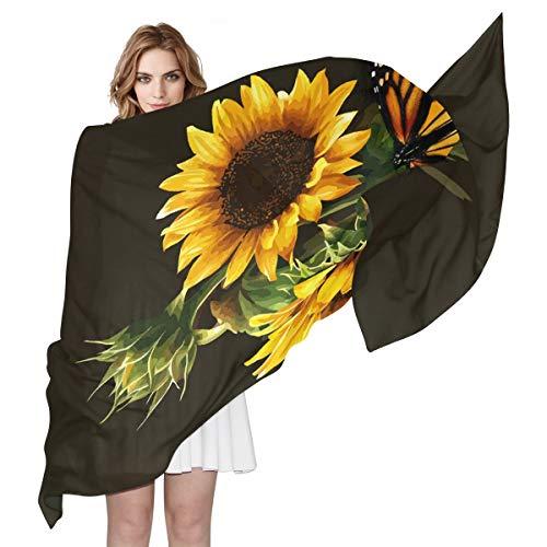 Herren-quadrat-muster-schal (BIGJOKE Damen Schal aus Seide, mit Schmetterlings-Sonnenblumen-Druck, leicht, lang, weich, Chiffon, Schal, Wickelschal, für Damen und Mädchen und Herren)