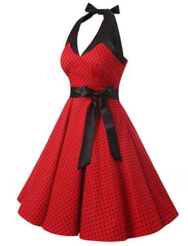 Dressystar Robe de bal élegante Polka Vintage pin-up à 'Audrey Hepburn' 50's 60's Rockabilly Halter,dos nu, à pois Rouge à pois noir A