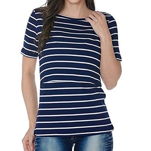Meedot Mutterschaft Stillen Kleidung Streifen T-Shirts Pflege T-Shirt Top Dark Blue S (Shorts T-shirt Mutterschaft)