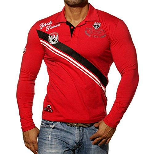 Rusty Neal Herren Langarm longsleeve Polo Style Poloshirt Sweatshirt RN-526 Rot