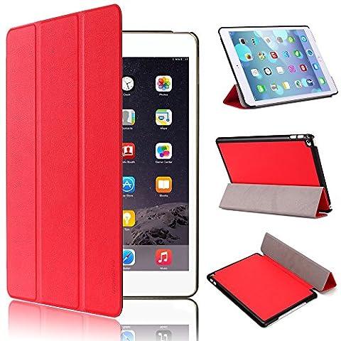 Étui pour iPad Air 2, iPad 6étui–pasonomi Ultra Slim léger Smart Shell Housse Coque Étui pour tablette iPad Air 2(avec fonction Smart Cover fonction veille/réveil automatique) rouge