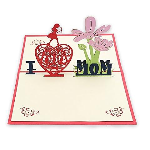 Grußkarten für Mama/Mama Geschenk Jahrestag 3D Pop up handgefertigt Geschenk Karte Origami & Kirigami für Muttertag Geburtstag Jahrestag Einladung Thank You Love Geschenke von osunp LOVE MUM