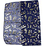 mytoptrendz® Notes de musique Imprimé écharpe pour femme léger Transparent en mousseline de soie Foulard couleur or Note de musique sur le thème de nombreuses -  bleu - Taille unique