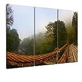 Kunstdruck - Brücke im Nebel - Guatemala - Bild auf Leinwand - 150x90 cm 3tlg - Leinwandbilder - Bilder als Leinwanddruck - Wandbild von Bilderdepot24 - Landschaften - Amerika - Regenwald - Hängebrücke - Nebelwald
