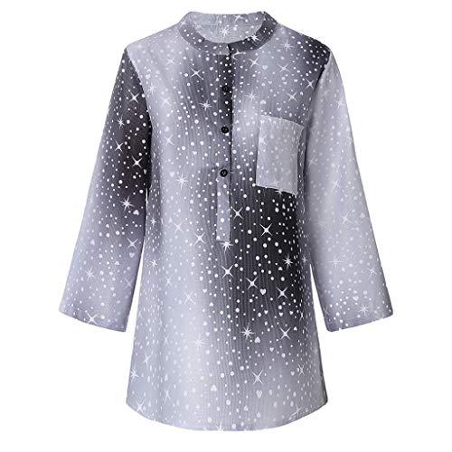 n mit Star Muster Taschen Shirt und Blusen Locker Langarmshirt Tuniken, Knopfleiste Oberteile Tops Große Größe Jacken Tunika ()