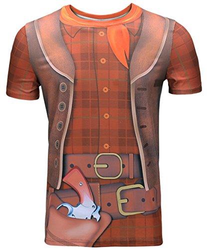 Funny World Herren Cowboy Kostüm T-Shirts Schottenkaro