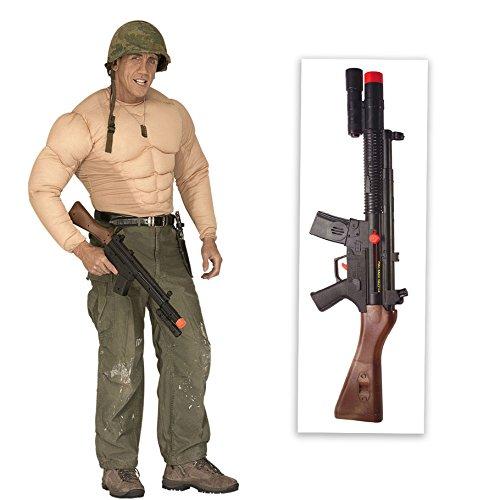 Amakando Army Maschinengewehr Maschinenpistole mit Sound Soldaten Spielzeug Gewehr Sturmgewehr Mafia Rifle Fasching Spielzeuggewehr Gangster Waffe Knarre Flinte Armee Karneval Kostüm Zubehör