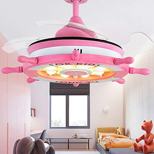 WWLONG Deckenventilator Licht Kinderzimmer Deckenventilator Licht 36 Zoll / 92 cm LED stumm unsichtbare Deckenventilator Kinderzimmer Lampe, dimmbar + Fernbedienung-Pink -