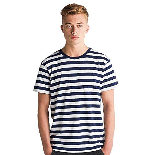Mantis - Men's Retro Streifen-T-Shirt Navy/White